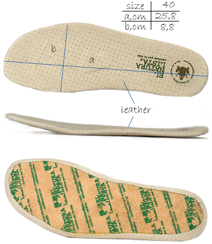 Removable leather anatomical insole for El Naturalista El Viajero n284 flat shoes