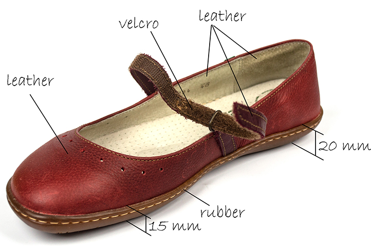 El Naturalista women's red leather Flat Shoe