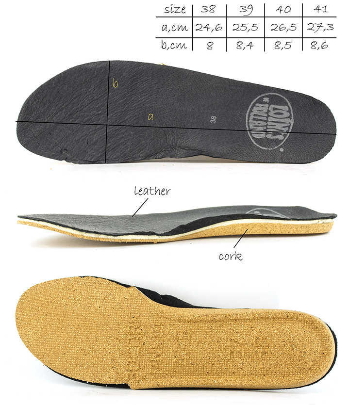 Black removable Insole of the Active Loints of Holland shoes