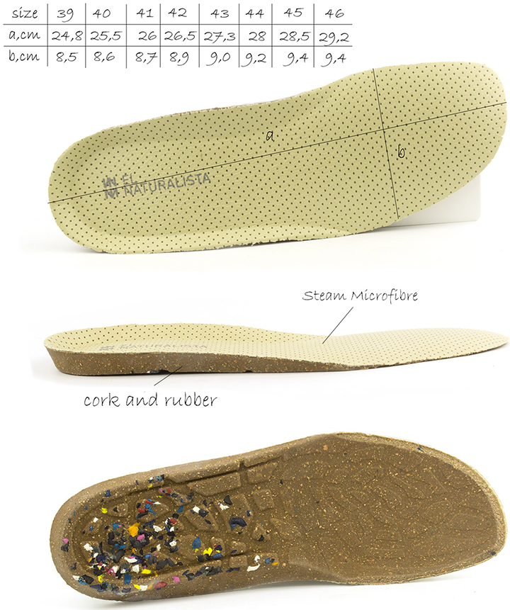 Removable insole of El Naturalista n275 El viajero flat casual shoes.