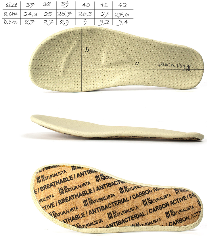 Removable insole for  El Naturalista n758 Nido boots