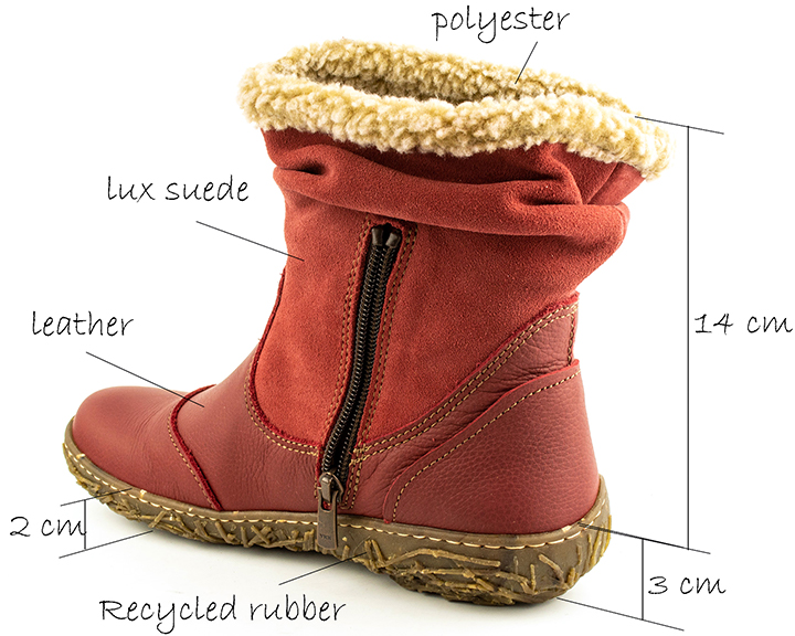 Women's red boots for cool weather from El Naturalista
