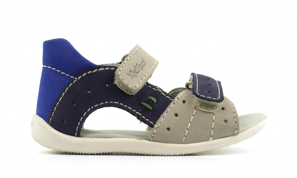 Blaue/graue Ledersandalen für Kinder