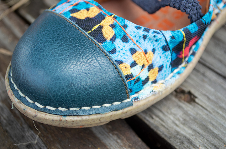 Leather toe of blue ballet flats