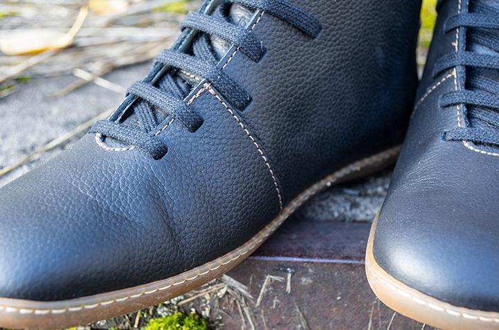Black leather upper