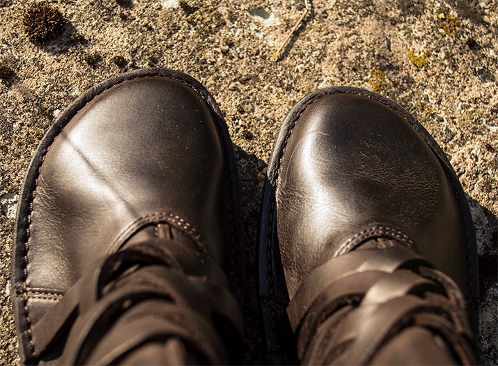 Round toe of the ankle boot.  In the rays of the evening sun, the dark brown wax nubuck leather looks great.