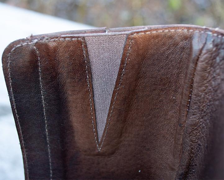 Elastic band. Leather lining.