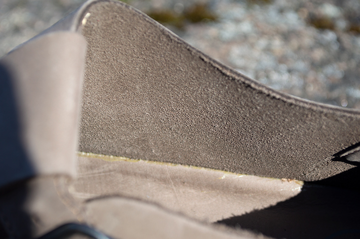Upper made of unlined nubuck. Back side of the nubuck.