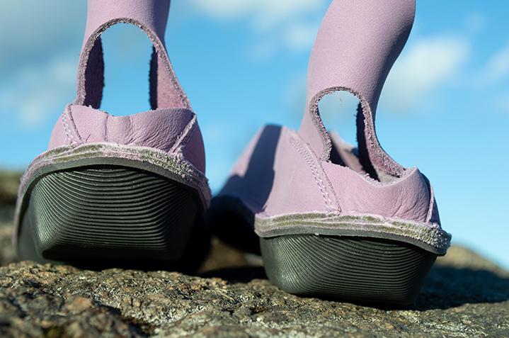 Sandals of delicate lavender color.